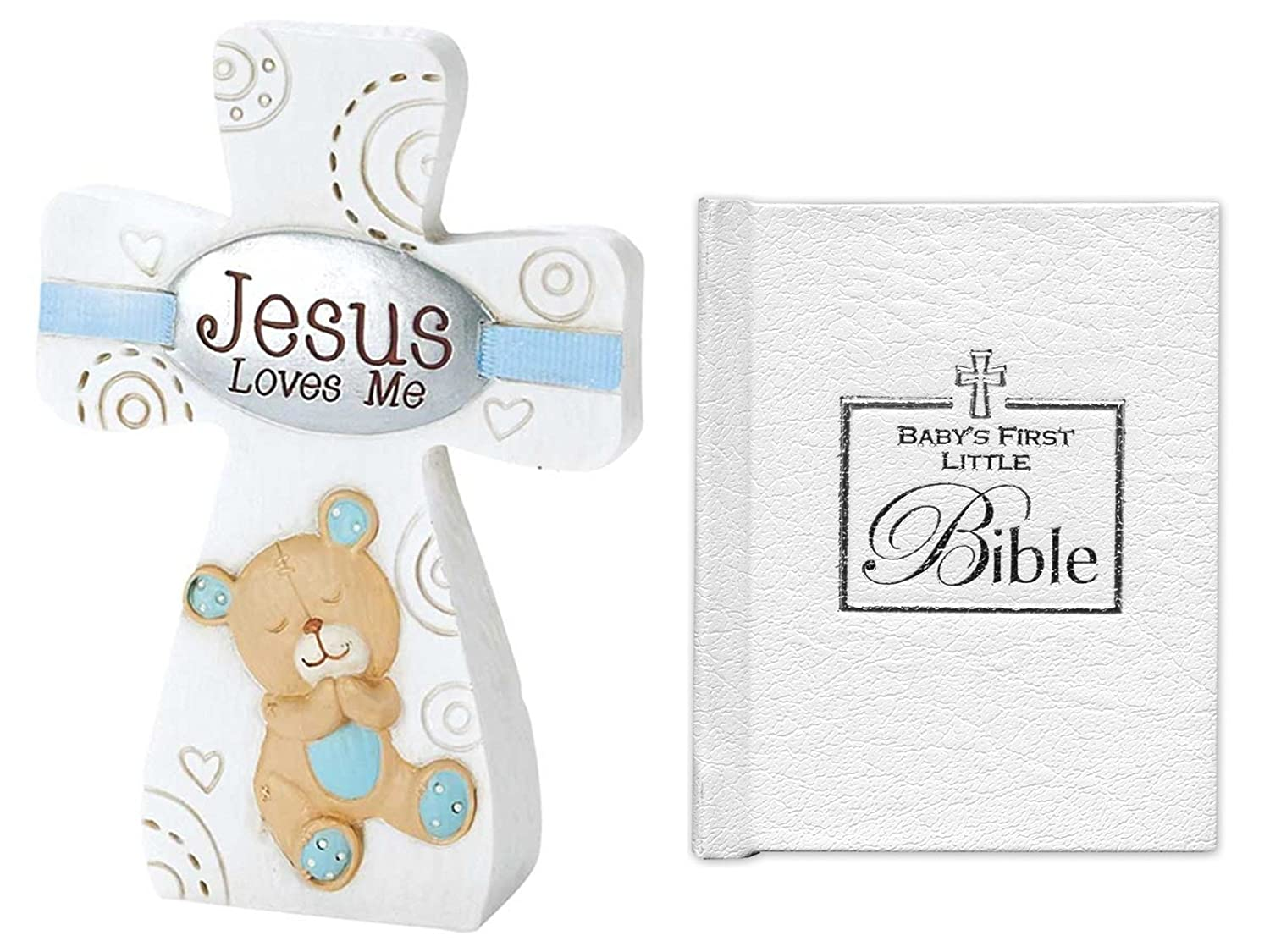 Gifts For Baby Boy For Christening and Baptism | Jesus Loves Me Tabletop Cross With Blue Trim and 3-Inch Babys First Bible Mixed