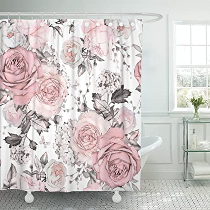 Amazon TOMPOP Shower Curtain Pink Flowers And Leaves On