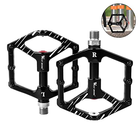 Bike Flat Pedals Magnetic Parking, Aluminum Alloy 9 16 Thread Spindle 3 Sealed Bearing Anti-Skid Bicycle Platform Pedals for BMX Mountain Bikes Road Bikes, Cycling Accessories Black, 1 Pair