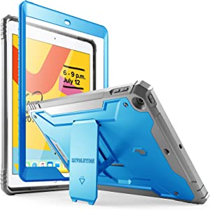 Poetic Revolution Series Case Designed for iPad 10.2 7th Generation 2019 / 8th Generation 2020 Case, Full-Body Rugged Shockproof Protective Cover with Kickstand and Built-in-Screen Protector, Blue