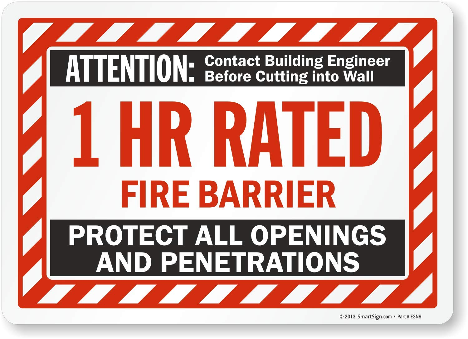 10 x 14 Laminated Vinyl 1 Hr Rated Fire Smoke Wall Label by SmartSign Attention