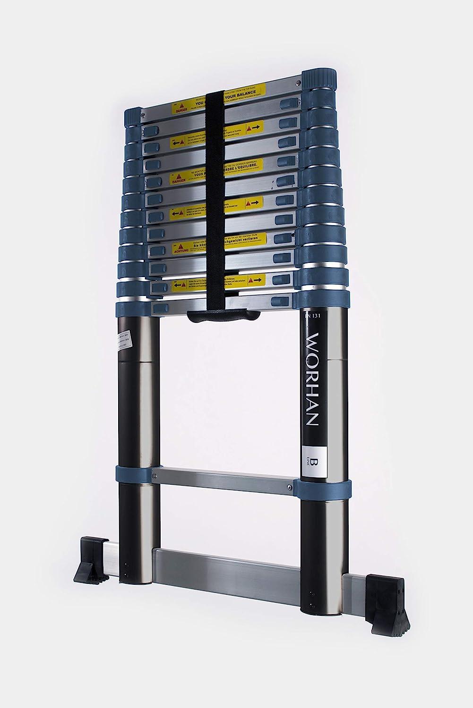 WORHAN® Echelle 3.8m Télescopique PRO Aluminium Anodisé Solide Extensible 380cm (.3.8m B line) 1K3.8B