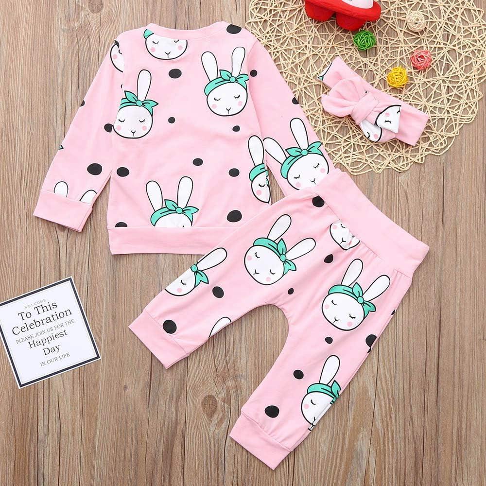 Wenjuan Toddler Baby 3 Pcs Clothes Cartoon Rabbit Print Tops Clothes+Pants+Headbands Set Outfit