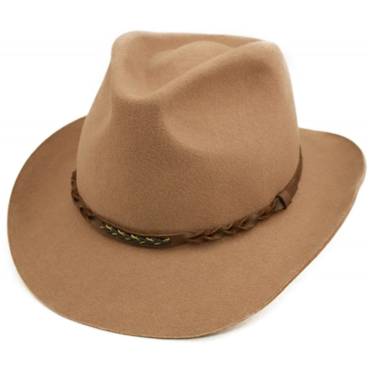 Cotswold Country Hats Wool Cowboy Hat with Twisted Leather Band Trim Black or Brown