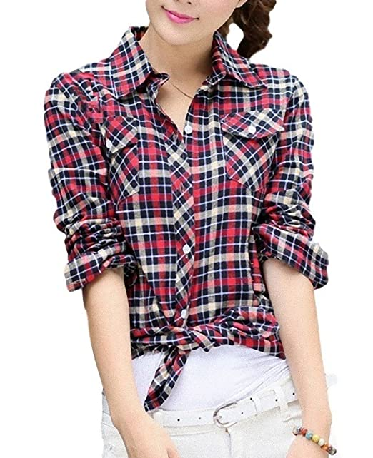 15f1f19f7 ten is heart Check Shirts Lattice Long Sleeve Western Gingham Tops Nell  Ladies (Gingham check