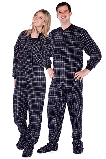 e08e22c8f27f Black   White Plaid Cotton Flannel Onesie Adult Footed Pajamas w ...