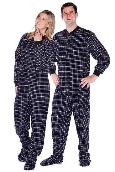 Big Feet PJs Black Plaid Cotton Flannel Adult Footed Pajamas w Drop-seat ( ea8273728