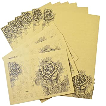 vintage rose kraft paper design set letter writing paper letter sets 6pcs letter writing stationery paper