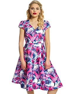 Lindy Bop Celestine Pink Lily Print Swing Dress