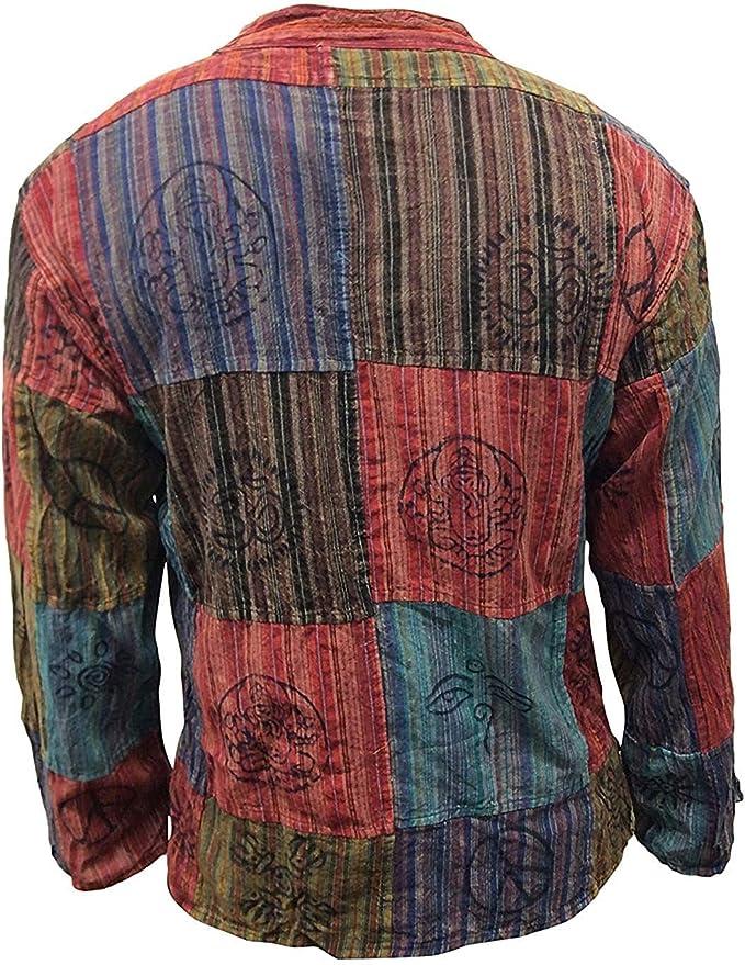vif shopoholic fashion d/élav/é Chemise /à rayures avec patchwork hippie