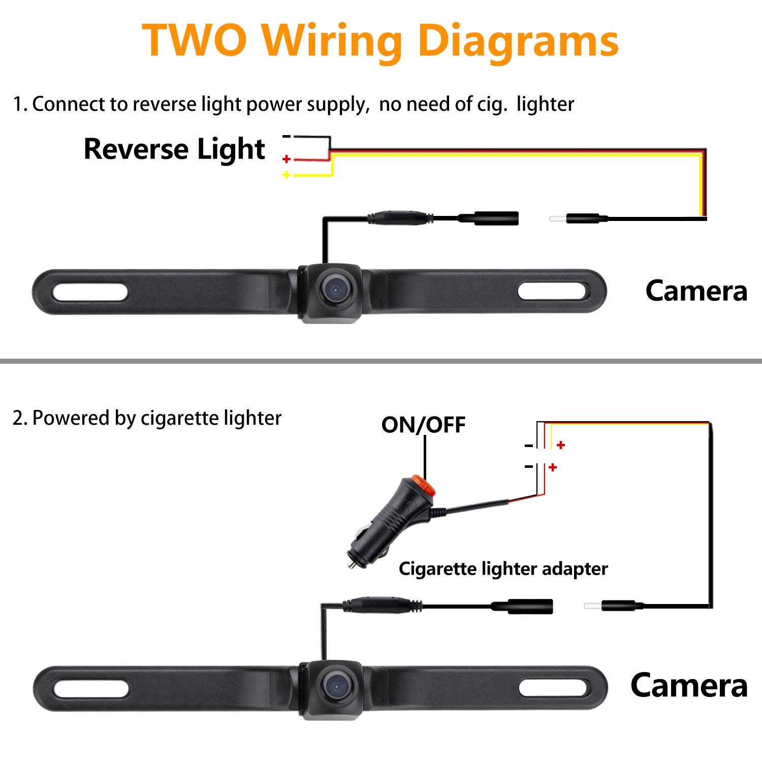 WiFi License Plate Backup Camera 720P Car Rear View Reverse Camera Work with Most Smart Devices