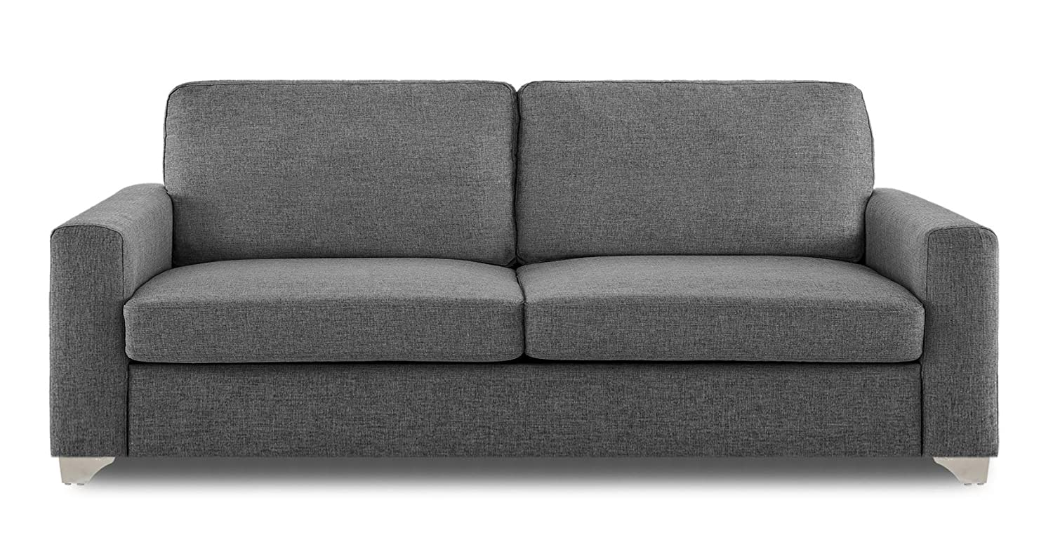 Adorn India Straight Line Three Seater Sofa (Grey)