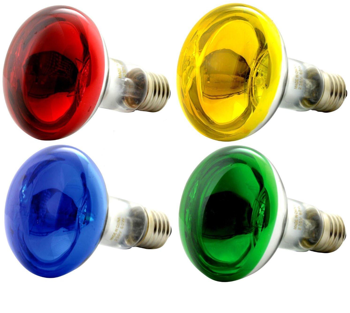 OmniaLaser OL-KIT4COLOR60 Kit 4 Lampadine Colorate ad incandescenza di Tipo Spot con riflettore/Specchio Cromato E27 60 Watt ognuna RCE