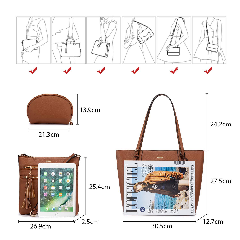 LOVEVOOK Handtaschen Damen Set, Tasche für Damen Umhängetasche Schultertasche Geldbörse Clutches Shopper Henkeltasche Tote Bag Tasche 3PCS PU Leder Braun