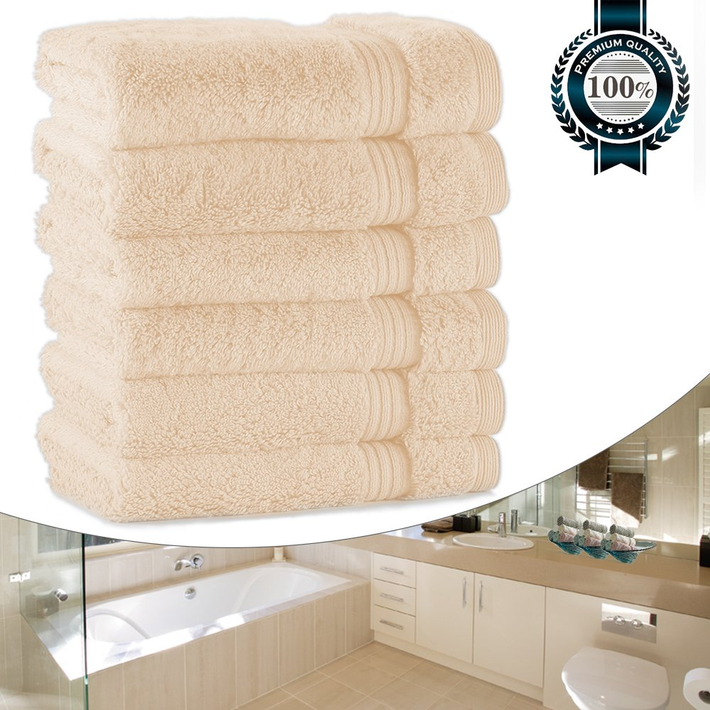 Face Towels for Bathroom, Luxury 700GSM Washcloths Set, 13''x13'' Extra Thick, Soft Cotton Towels for Bathroom Spa Facial Kitchen Home, Hotel, Highly Absorbent (6 Beige Set Bulk)