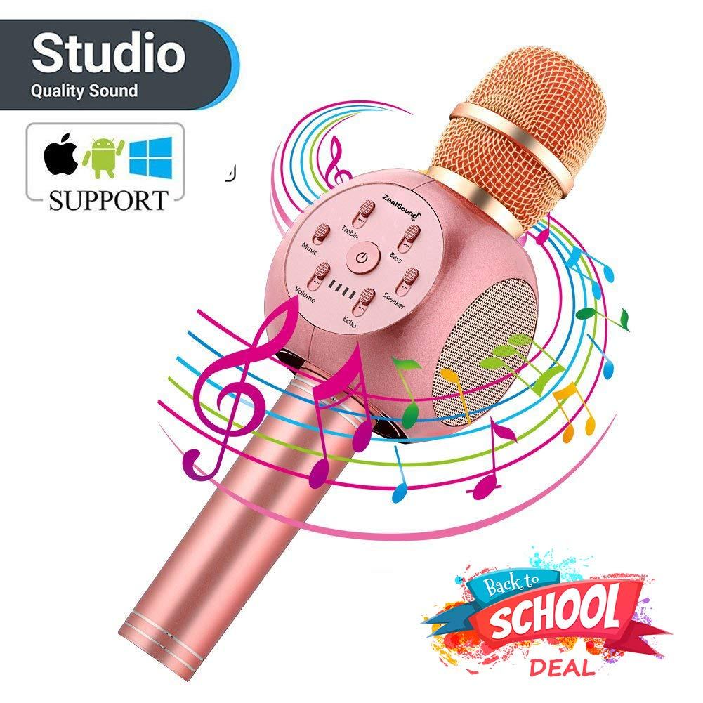 Karaoke Microphone Rose Gold, ZealSound Stereo Bluetooth Karaoke YouTube Microphone Wireless, Also Works as Bluetooth Speaker, micrófono de karaoke for iPhone/Android/iPad/PC Smartphone (Rose Gold)