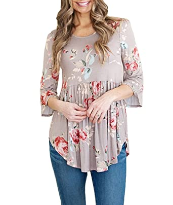 b3912657e66f79 YILLEU Women Casual 3 4 Ruffle Detailed Sleeve Round Neck High Waisted  Floral Print Babydoll Blouses Top at Amazon Women s Clothing store