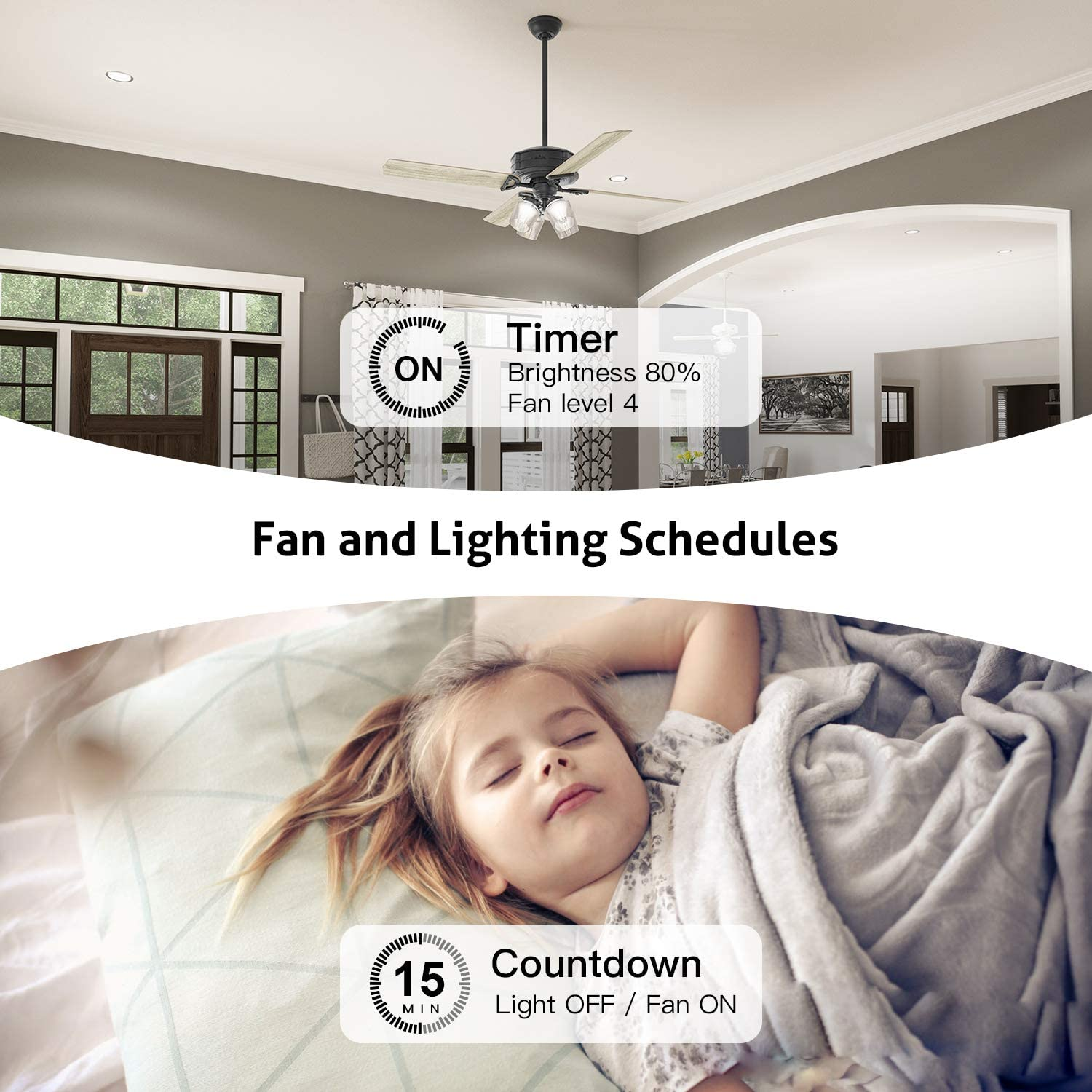 Smart Ceiling Fan Control and Dimmer Light Switch, Neutral Wire Needed, Treatlife Single Pole Wi-Fi Light Switch Fan Speed Control, Works with Alexa/Google Assistant, Schedule, Remote Control (1PACK): Industrial & Scientific