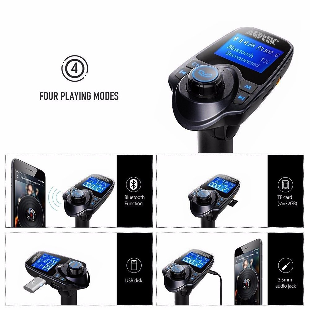 MYPIN Bluetooth FM Transmitter Wireless in-Car Radio Transmitter Kit with Dual USB Car Chargers and 1.44 Inch Display CE0208-NCFBA