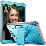 Poetic Revolution New iPad 9.7 Inch 2017/2018 Rugged Case With Hybrid Heavy Duty Protection and Built-In Screen Protector and KickStand for Apple iPad 9.7 2017/iPad 9.7 2018 Blue/Gray