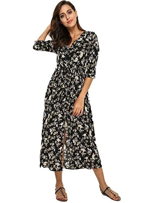 2654c08d6de3f StyleDome Sexy Women s Dresses Half Sleeve V Neck Dress Floral Buttons  Beach Party Long Maxi Sundress