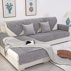 Deep Dream Sofa Slipcover, Velvet Sectional Sofa Covers Furniture Protector Anti-Slip Couch Covers for Dogs Cats Kids 36 x 63 Inch - Light Gray (Sold by Piece/Not All Set)