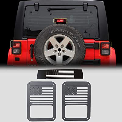 RT-TCZ Tail Light Guards Covers Brake Light Cover for Rear Taillights 2007-2020 Jeep Wrangler JK Unlimited Accessories (US Flag-1): Automotive