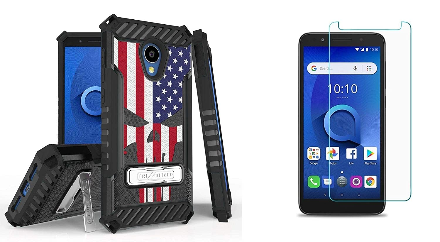 Beyond Cell TriShield Series Compatible with Alcatel idealXTRA, Avalon V, TCL LX, 1X Evolve - Military Grade Shockproof Slim Case (USA Skull Flag), Tempered Glass Screen Protector and Atom Cloth