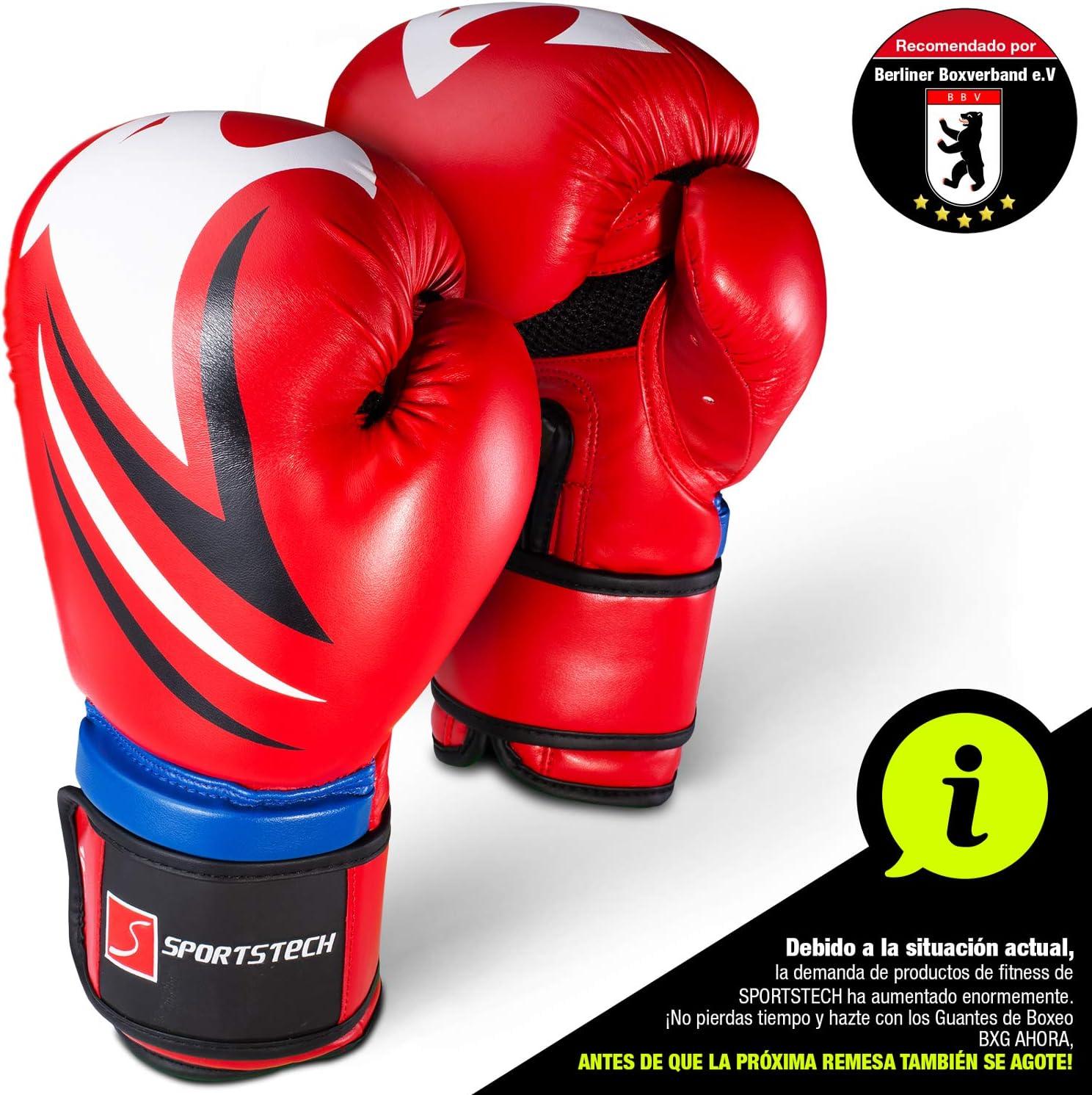 Sportstech BXG Guantes de Boxeo Profesionales; Amortiguación y fijación de muñeca desarrollados por Sporstech. Ideal para Kickboxing, MMA, Boxeo y Saco de Boxeo. Incluye Vendas de Boxeo: Amazon.es: Deportes y aire libre