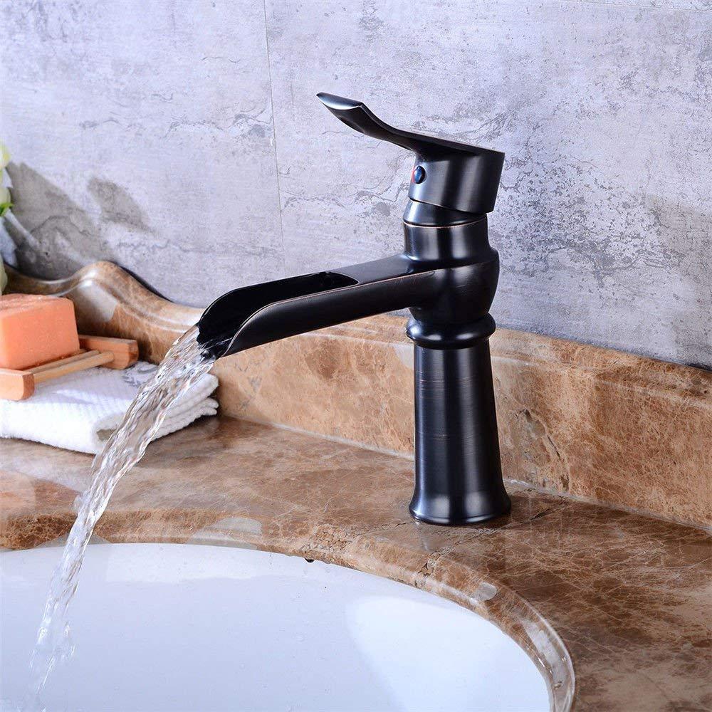 Eeayyygch Küchenarmatur schwarz antik Messing Waschbecken Wasserhahn heißen und kalten Bad Wasserhahn Wasserfall Auslauf Spüle Waschbecken Mischbatterie (Farbe   -, Größe   -)
