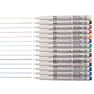 Sakura 14 Pcs Pigma Micron Fine Line Pen Set Assorted Colors 05# 0.45mm Ink Drawing Pens Set with Pen Case