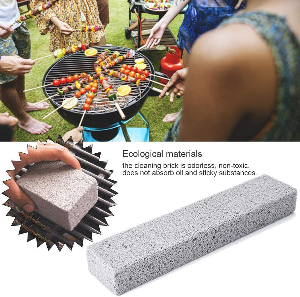 Worglo 2Pcs Grill Cleaning Brick,Commercial Grade Pumice Stone Tool Cleans & Sanitizes Restaurant Flat Top Grills or Griddles. Remove Grease Stains, Dirt and More Without Harsh Chemicals or Abrasives