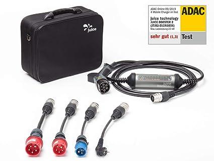 Juice Booster 2 Cargador Portátil Coches - 22kW, 32A, Trifasico, Monofásico, Tipo 2, emobility | German Traveller Set | 4X Adaptadores