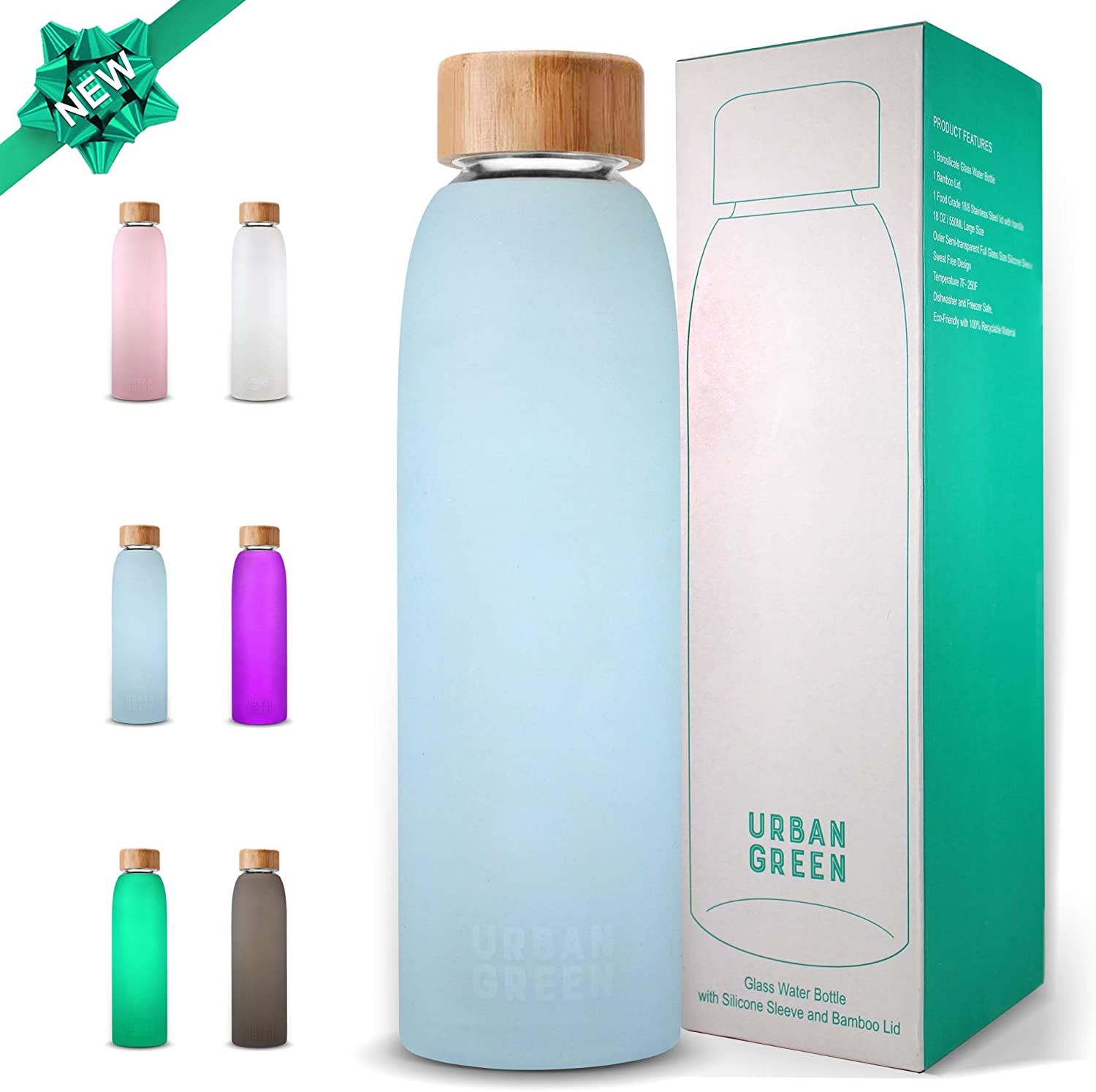 Glass Water Bottle with Protective Silicone Sleeve and Bamboo Lid by Urban green, 18oz, 1extra 304 Stainless Steel Lid with Handle, BPA Free, Dishwasher Safe, Gift Box, Mother's Day Gift