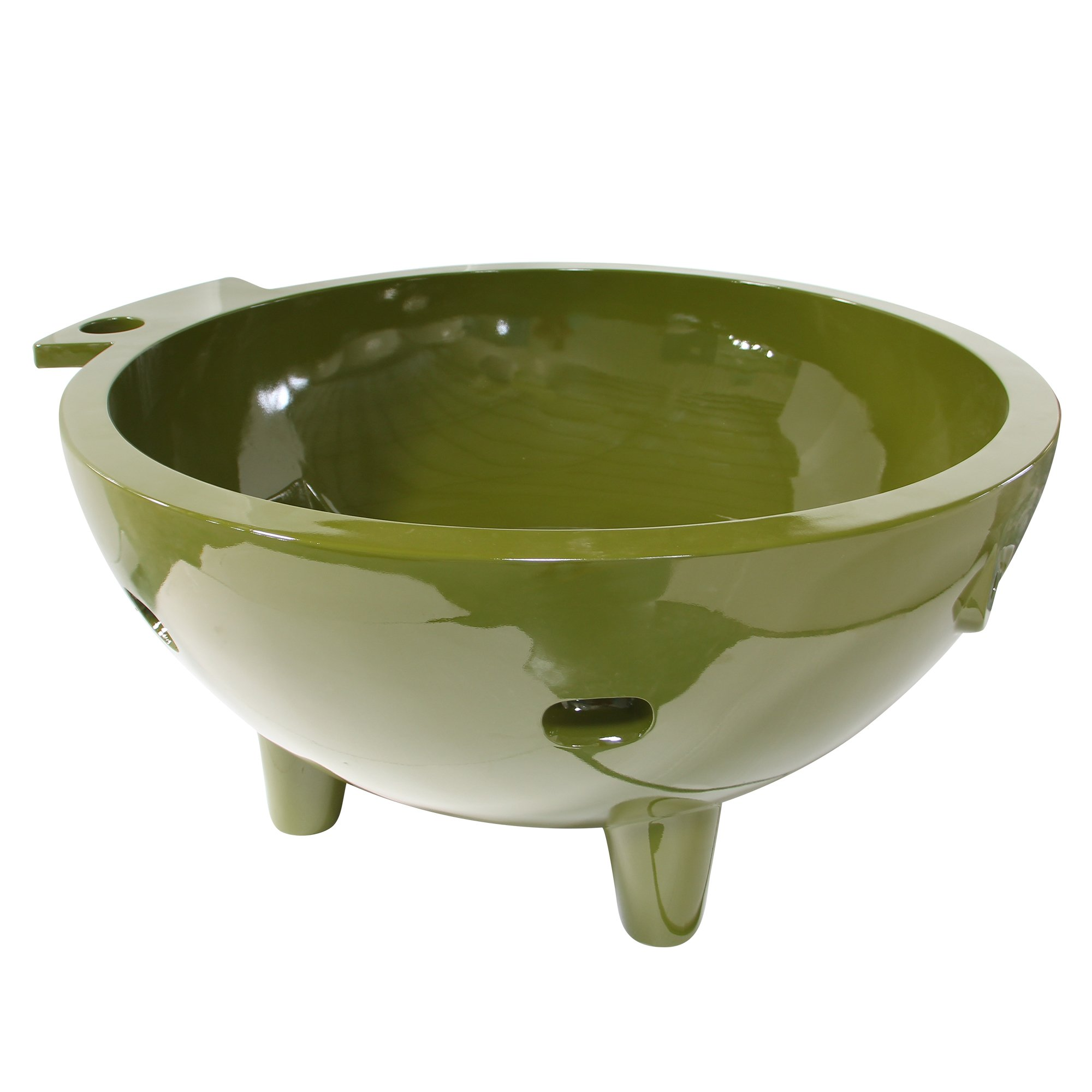 ALFI brand  FireHotTub-OG Round Fire Burning Portable Outdoor Fiberglass Soaking Hot Tub, Olive Green