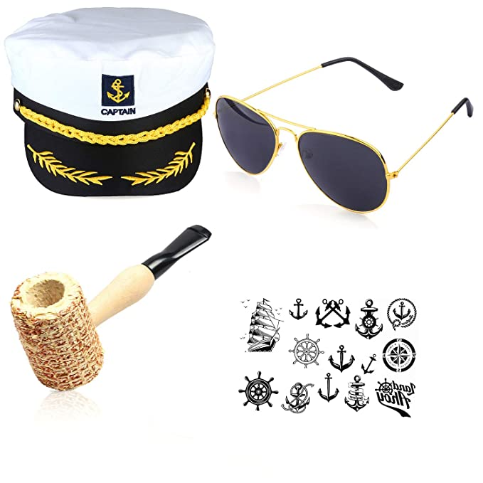 Hippie Hats,  70s Hats Beelittle Yacht Captain Hat Costume Accessories Set Sailor Hat with Corn Cob Pipe & Aviator Sunglasses $15.99 AT vintagedancer.com