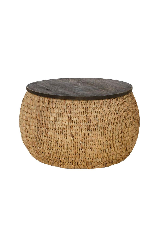 Vivanno runder Tisch Fox Wasserhyazinthe mit Holzplatte Ø65cm, Natur