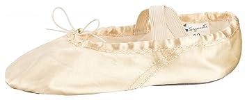 tanzmuster Ballettschuhe / Ballettschläppchen aus Satin, geteilte Ledersohle,  champagner, Größe:22