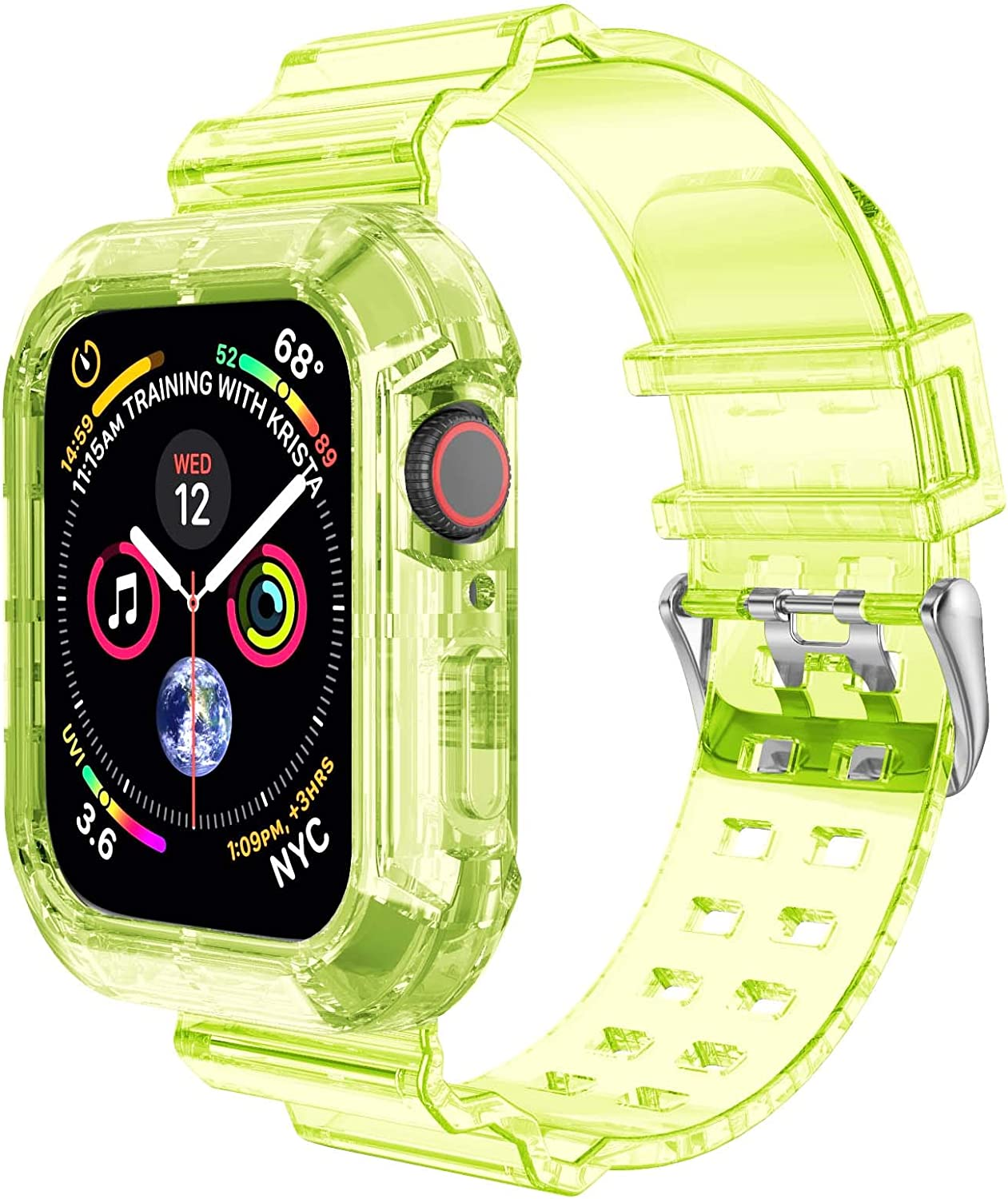 Clear Watch Band for Apple Watch 42mm 44mm,Transparent Clear Soft Silicone Sports iWatch Band Strap for Apple Watch Series 6/5/4/3/SE(Yellow-Green,44mm)