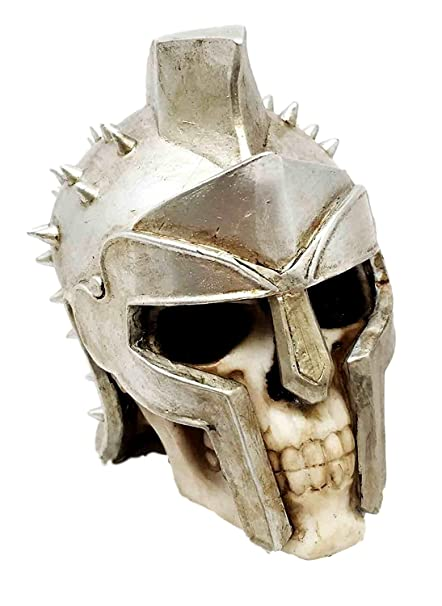 Spiked Spartan Helm Hero Gladiator Maximus Warrior Skull Figurine Sculpture Collectible