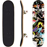 """Ancheer 31"""" Pro Skateboard Complete - 9 Layer Canadian Maple Wood Double Kick Concave Tricks Skate Board, Christmas Birthday Gift for Kids Age 5+"""