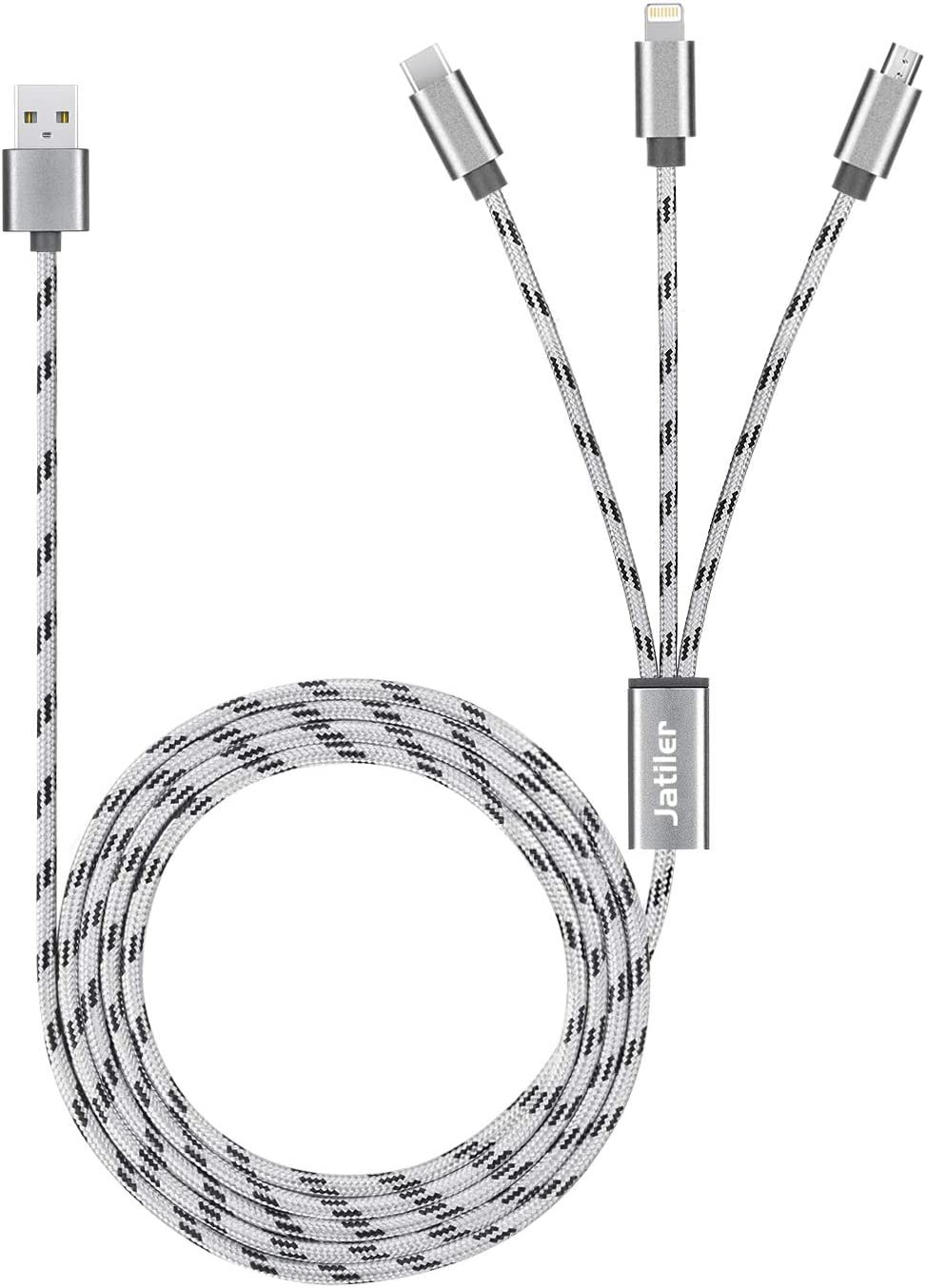 10ft Multi Charger Cable JatilEr Braided Multi Charging Cable 3 in 1 USB Cable Multi USB Charging Cable USB Multi Charger Cable with Pin/Type-C/Micro USB Port Connectors for Cell Phones and More