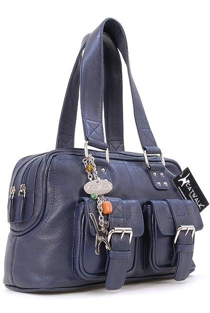 CATWALK COLLECTION - CAROLINE - Bolso - Cuero - Azul Marino: Amazon.es: Zapatos y complementos