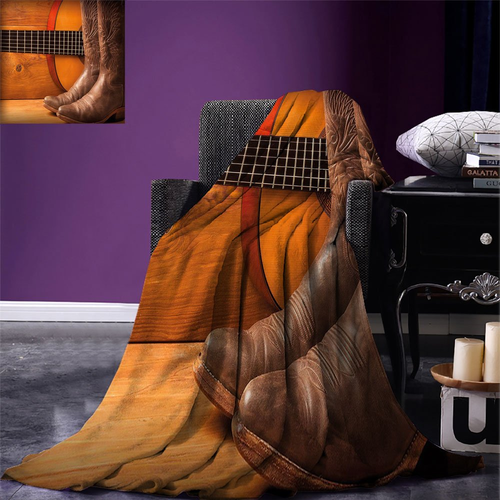smallbeefly Western Digital Printing Blanket American Country Music Theme Guitar Instrument and Cowboy Shoes on Wood Image Summer Quilt Comforter Brown Orange