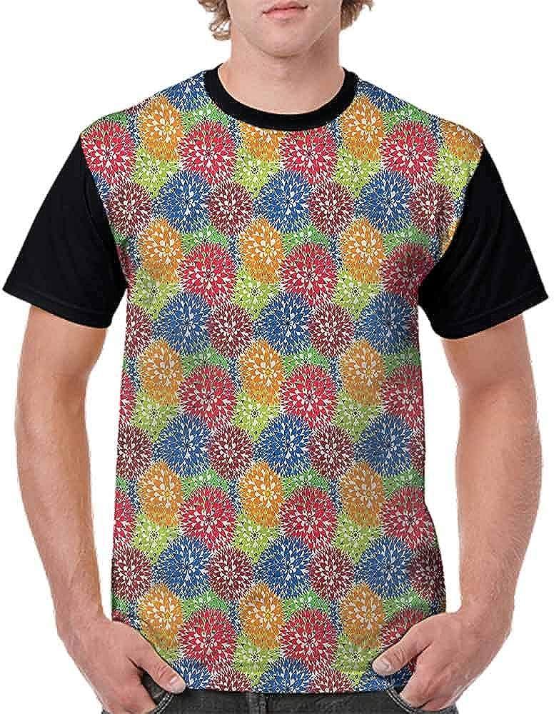 Performance T-Shirt,Colorful Dahlia Petals Botany Fashion Personality Customization