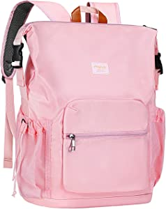 MOSISO Laptop Backpack for Women School College Students Fits 15.6 inch Computer, Water Repellent Oxford Cloth Fashion Business Travel Multipurpose Bookbag Casual Hiking Daypack with Front Pocket,Pink