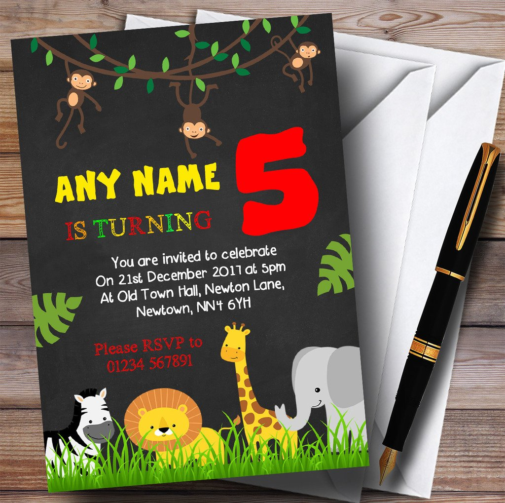 Any Age Chalk Jungle Animals Childrens Birthday Party Invitations