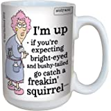 Hilarious Aunty Acid Freakin Squirrel Large Coffee Mug, 15-Ounce Cup - Funny, Unique, Sarcastic Gag Gifts for Office Coworkers - Tree-Free Greetings