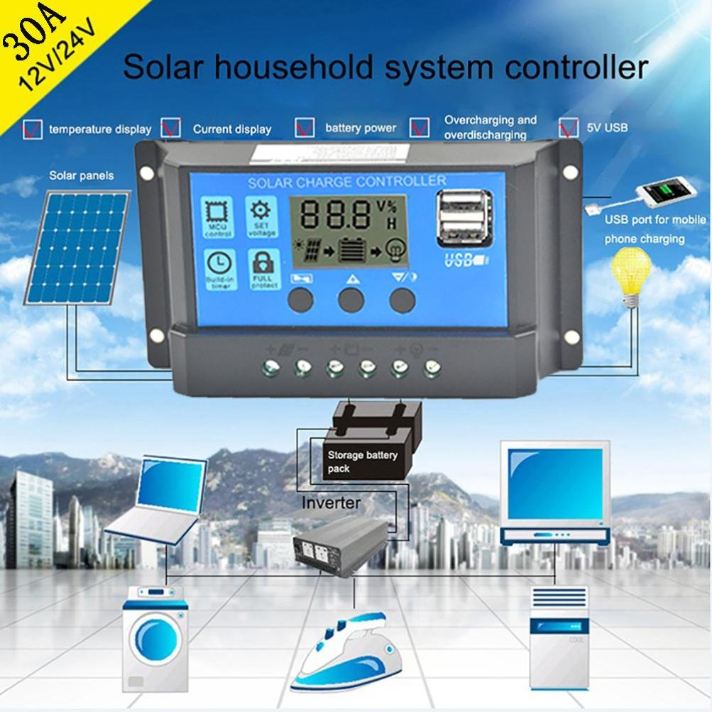 Display Overload Protection Temperature Compensation 10A YUYOUG 10A//20A//30A 12V-24V Solar Charge Controller Charge Regulator Intelligent 2 x Anderson Plugs