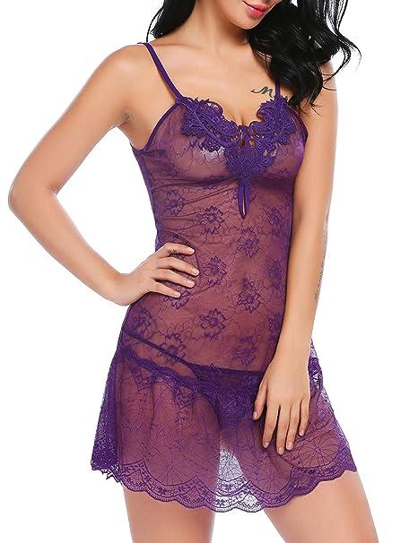 wearella Sexy Women Lingerie Lace Babydoll Strap Nightie Chemise (Purple 1bb32a5fb